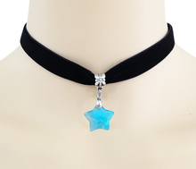 Black velvet ribbon necklace retro collar necklace blue Pentagram pendant natural crystal choker necklace glass pendants gothic(China (Mainland))