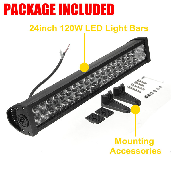 New 24Inch 12-30V 120W LED Light Bar Spot Flood Combo OffRoad ATV SUV Boat Work Lamp<br><br>Aliexpress