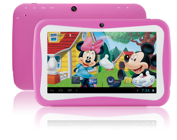 7 inch Android kids tablet pc 1024x600 512MB 8GB wifi Dual Camera Educational Games App