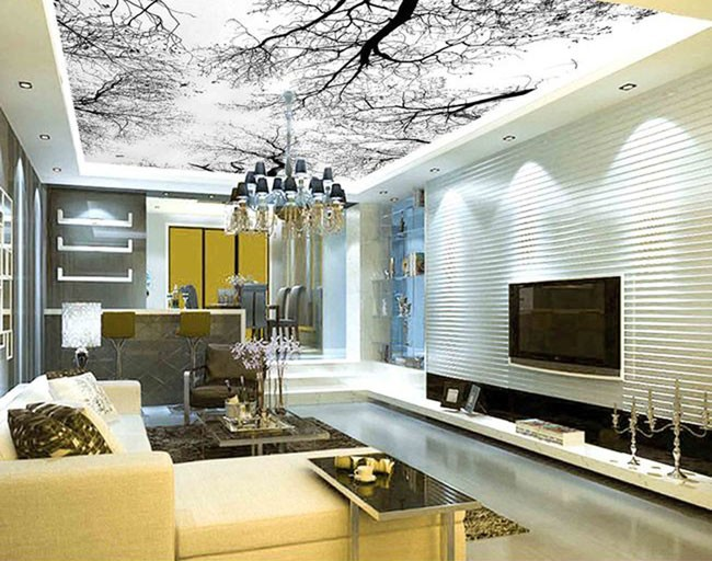 3d wallpaper mural winter branches ceiling wall custom for Custom size wall mural