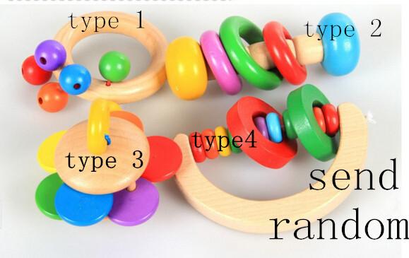 1pc Send Randomly Hot sell Wooden Tambourines child wood Bell cartoon Handbells toy Educational Toys Free Shipping WJ037(China (Mainland))