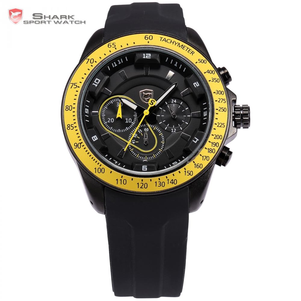 snapper shark sport watch black yellow chronograph. Black Bedroom Furniture Sets. Home Design Ideas
