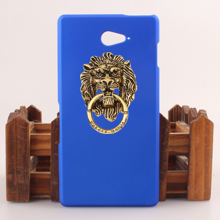 New Arrival Fashion Hard Plastic Phone case Ring Stand Lion modelling Sticky Mobile Holder For Sony Xperia M2 Aqua D2403 D2406(China (Mainland))