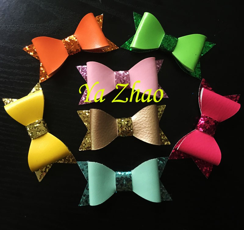 Free EMS 300pcs/lot Newest Hair Glitter Leather Bows, Baby Girl's Hair Kid's bows Without Clips, Bows tie(China (Mainland))