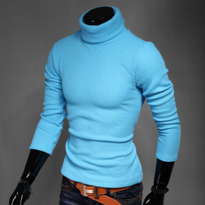 Dropshipping 2015 Korean style Warm Sweater Men Slim Turtleneck Collar Knit Pullover 7 colors - Man Show store