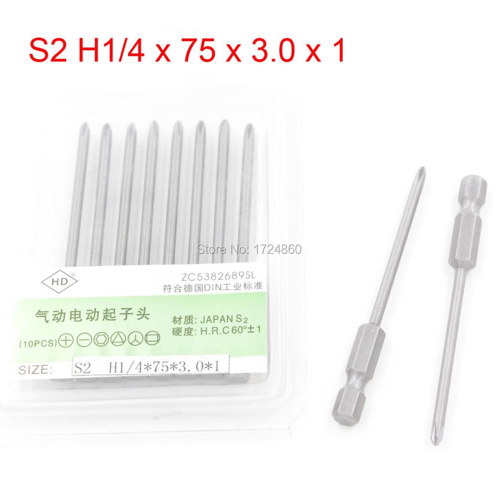 75mm Length 3mm Phillips Electric Screwdriver Bits Set S2 H1/4 x 75 x 3.0 x 1 Magnetic Long Screwdriver Bits 10PCS(China (Mainland))