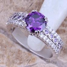 Wedding Purple Amethyst White Topaz Silver Women's Fashion Fine Jewelry Ring Size 6 / 7 / 8 / 9 Free Gift Bag E175(China (Mainland))