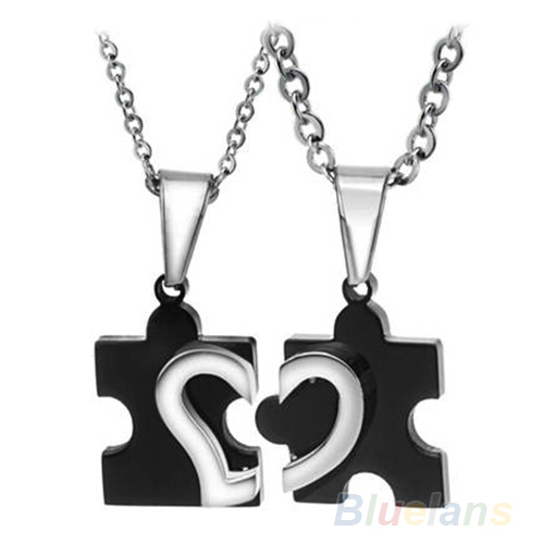 1 Pair 2014 New Men's Women's Couple Lovers Stainless Steel Love Heart Puzzle Necklaces & Pendants 09I8  -  Fashion Topic store