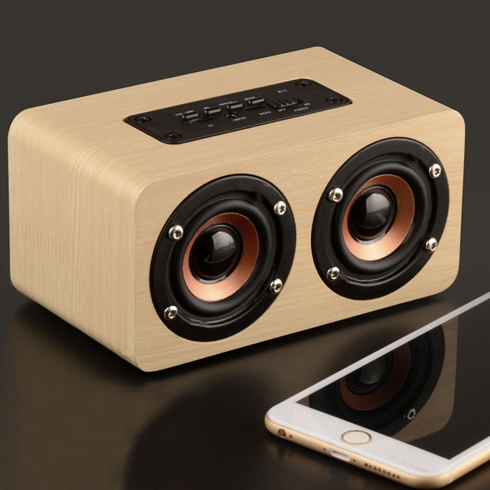 Portable HIFI Wireless Wooden Bluetooth Speaker MINI Box 10W HD Dual Stereo Loudspeaker phone  -  ausid Store store
