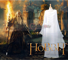 New Arrival Lord of the Rings The Hobbit Lady Galadriel White Dress Costume