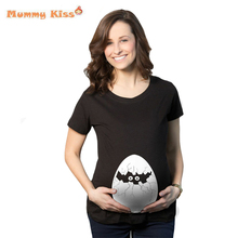 Summer Pregnant Maternity T Shirts Funny Cartoon Printed Pregnant Women Tops Plus Size Broken Shell Woman Clothing tyh-50565
