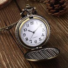 Popular Vintage Unique Bronze Quartz Pendant Chain Necklace Clock Retro Chain Pocket Watches NO181 5V1G 3Y3FD(China (Mainland))