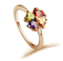 New Fashion Ladies Jewelry Colorful Sapphire Engagement Finger Ring Size 16 to 19 CZ 18K Gold Filled Wedding Rings for women