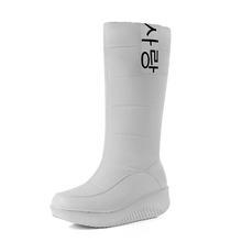 MEMUNIA TAMAÑO 35-44 Señoras de la nieve botas cuñas tacones resbalón de las mujeres de invierno botas de piel dentro de media pantorrilla botas zapatos dulces(China)