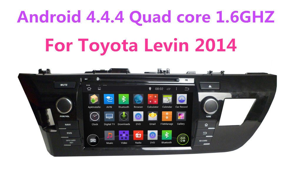 8 inch 2 din car dvd gps for Toyota Levin 2014,android 4.4.4 Quad core 1.6GHZ 1024X600 1080P Flash 16GB,fast delivered by DHL(China (Mainland))