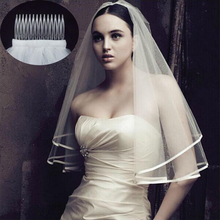 Don's Bridal Veils With Comb 2016 Sexy Yarn Dyed One-layer Real Photos Ribbon Cheap One White Ivory Tulle Wedding Veil With Comb(China (Mainland))