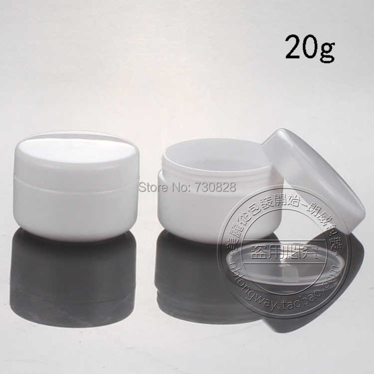 50PCS/LOT,20G Cream Jar,White Plastic Cosmetic Container,Empty Makeup Sub-bottling,Small Sample Mask Canister,PP Cream Box(China (Mainland))