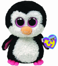 New TY Plush Animal Beanie Boos Stuffed Animals Paddles The Penguin Pink 15cm/6'' Ty Big Eyes Soft Toys for Children Kids Gifts(China (Mainland))