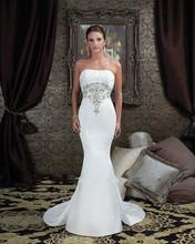 Buy Elegant Mermaid Wedding Dresses Long 2016 Vestido De Novia Backless Strapless Lace Beading Pleat Satin Vintange Bridal Gowns for $185.00 in AliExpress store