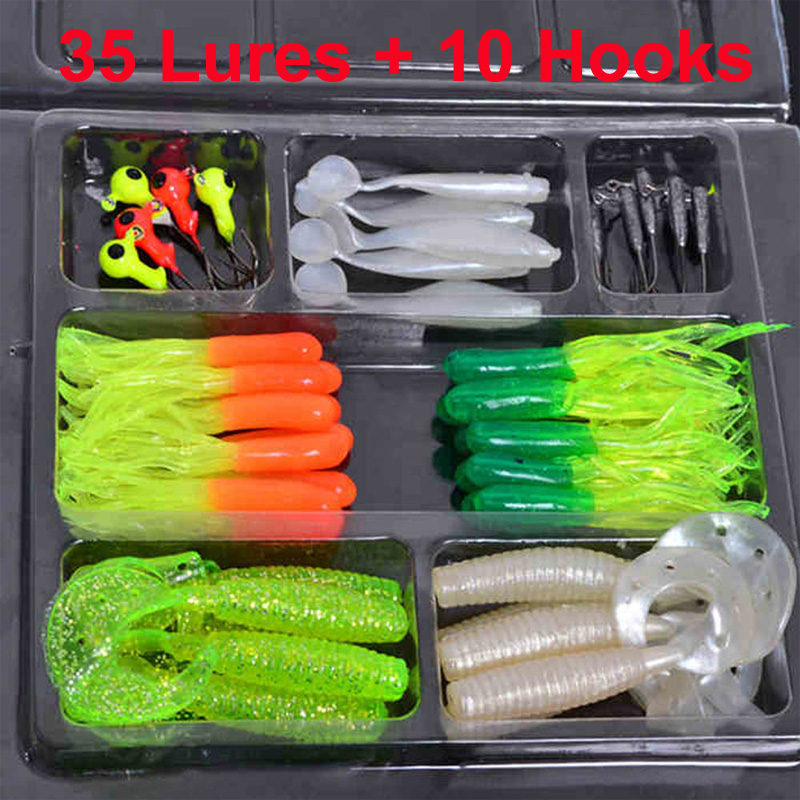 Buy 35pcs soft plastic worm fishing baits for Fishing worm molds
