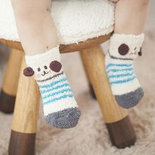 1 Pair 0-4 Years Old Thicken Baby Socks Cute Cat Sheep Bear Kids Socks Winter Soft Non-slip Toddler Girl Boys Socks 13 Colors(China (Mainland))