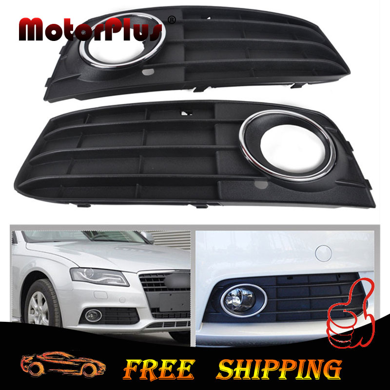 New 2Pcs Left & Right Black ABS Car Front Bumper Grill Fog Light Grille Cover For Audi A4 B8 A4L 2009 2010 2011 Non-sline(China (Mainland))
