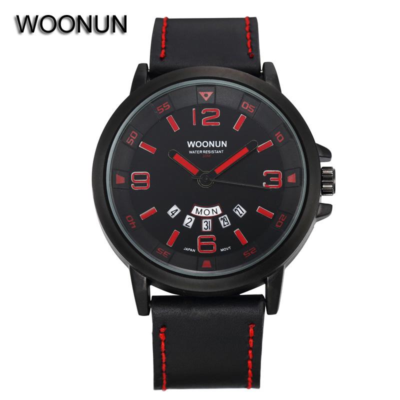 New Brand Male Sports Watch WOONUN Genuine Leather Strap Analog Quartz Date Day Watches Men Wristwatch mens Relogios Masculino<br><br>Aliexpress