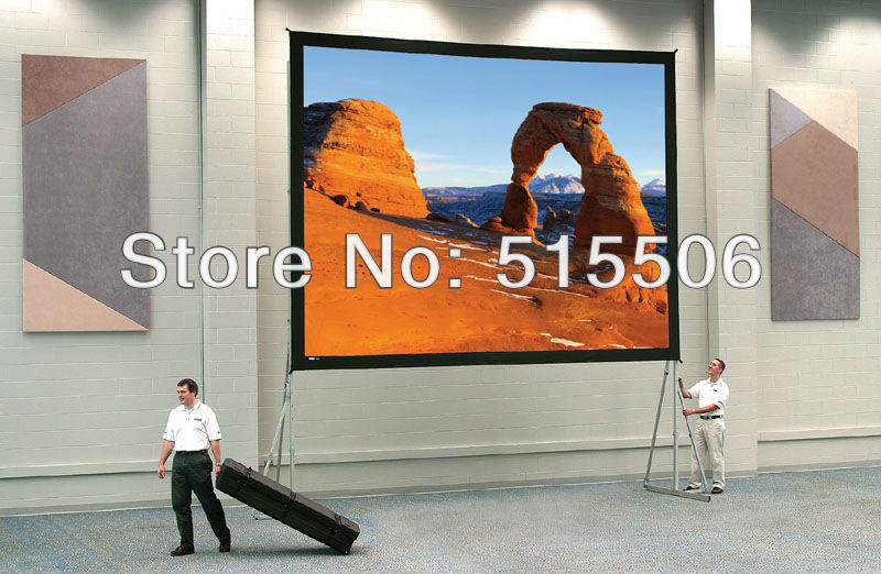 "Free shipping !! 4:3 120""inch rear fast fold projection screen with flight case(China (Mainland))"
