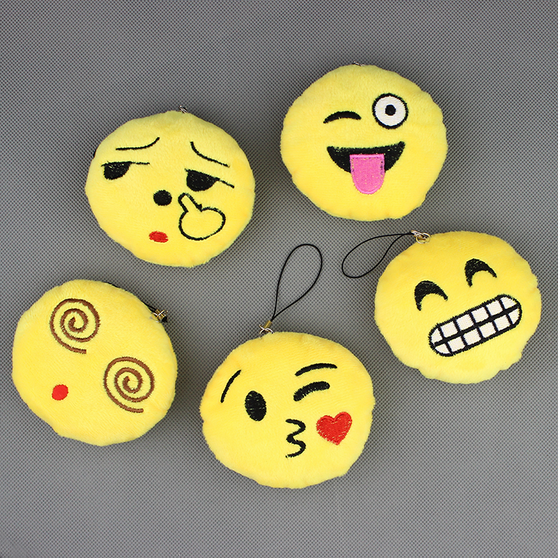 Hot Sale Cute Small Emoji Smiley Emoticon Amusing Key Chain Soft Toy Gift Pendant Bag 10pieces/lot(China (Mainland))