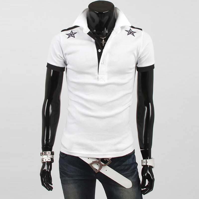 2016 stylish formal mens polo shirt short sleeves white solid black polo shirt casual slim boss golf tennis polo shirts for men(China (Mainland))