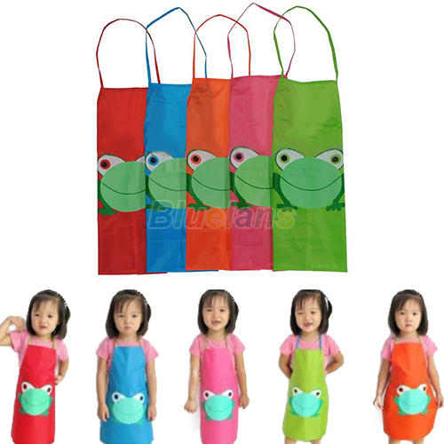 New Cute Kids Child Children Waterproof Apron Cartoon Frog Printed Painting Cooking Apron 04A2(China (Mainland))