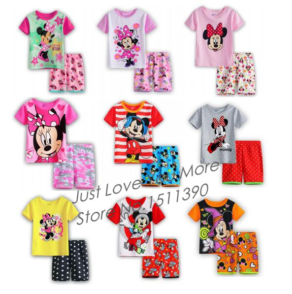 Hot Sale Summer Baby Clothes Cute Minnie Cartoon Micky Mouse Pure Cotton Casual 2pc Sets Pajamas Fashion Baby Boys Girls Suits(China (Mainland))