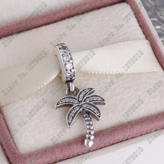 Summer jewelry Sparking Palm tree Dangle Charms 925 sterling silver jewelry fits Pandora bracelet DIY for European Market DG153(China (Mainland))