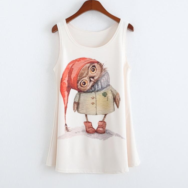 Summer Fashion Plus size High quality Sleeveless T shirt Women Little red riding hood owl print Tank Tops Blusas sem mangas(China (Mainland))
