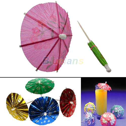 50pcs Paper Cocktail Parasols Umbrellas Drinks Picks Wedding Luau Party Sticks More Colors 01MD(China (Mainland))