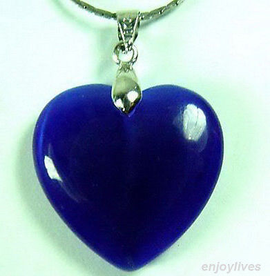 Hot sale Free Shipping 5 pcs &gt;Blue Jade Love Heart White Gold Plated Pendant and Necklace<br><br>Aliexpress