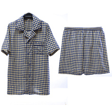 Clearance song Riel fashion men s plaid short sleeved cotton pajamas suits and elegant comfort Pyjamas