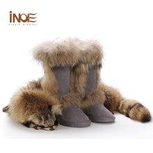 Señoras Rodilla Plana Botas Altas Botas de Cuero Real de Piel De Zorro Gris para mujer Botas de Nieve del Invierno Para Las Mujeres de Invierno Cálido Tamaño de Los Zapatos 9(China (Mainland))