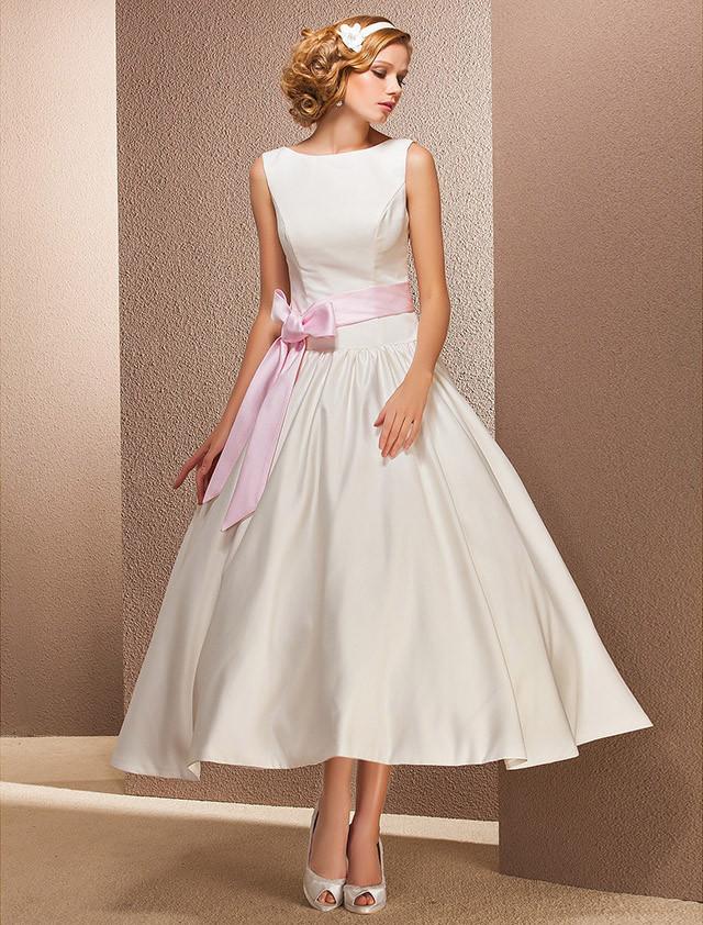 Hot sale new sexy fashion tea length wedding dress 2016 for Ivory tea length wedding dress