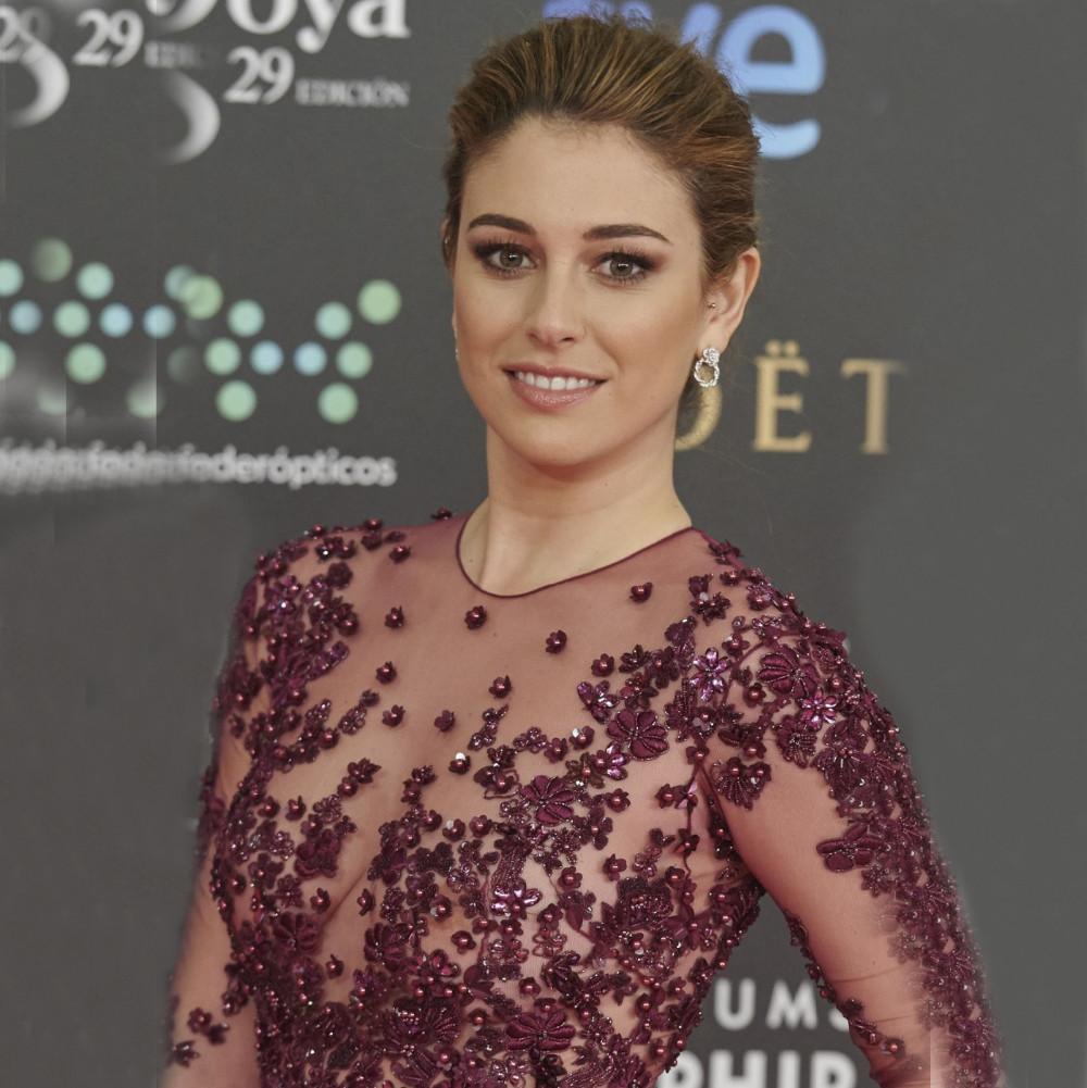 Encanto con cuentas de noche bordado vestidos Sexy busto transparente manga larga una línea Purple vestidos