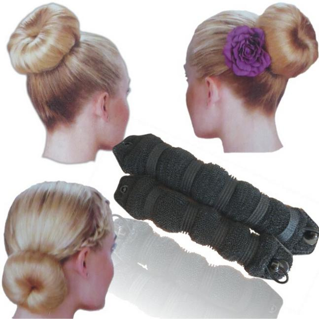 Hot Sale 2pcs Magic Style DIY Tool Updo Bun Maker Hair Styling Tool Donut Shaper Hairdo Hot Buns Hair(China (Mainland))