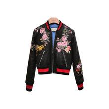 2016 Spring New Brand Women Sheepskin Genuine Leather Jackets Embroidery Flower  6323(China (Mainland))