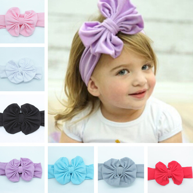 2016 New Good Quality Girls Kids Baby Big Bow Hairband Headband Stretch Turban Knot Head Wrap BB-267(China (Mainland))