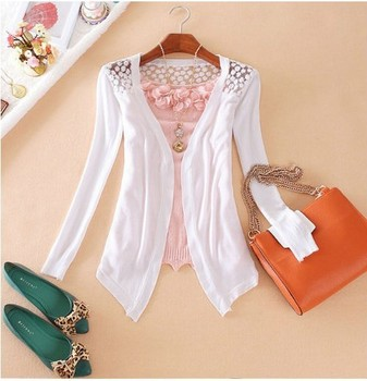 2014 Women's Lace Cardigan Sweaters Spring Woman Fashion Long Sleeve Crochet Knitted New Black White Pink Outwear Shirts J0221