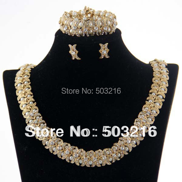 Free Shipping High Quality Clear Crystal 18K Gold Plated Pearl Style Indian Bridal Wedding Jewelry Sets