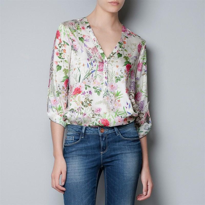 Mulheres blusas 2016 mulheres blusa da moda feminina blusa Chiffon v-neck impresso Chiffon shirt mulheres tops roupa por atacado B055(China (Mainland))