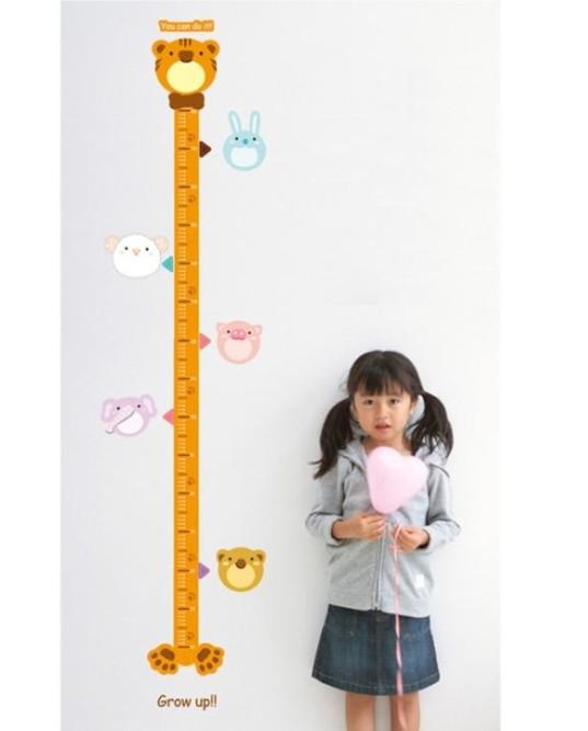 Free Shipping Home Decorative Mural Vinyl Wall Sticker Bear Height Chart Grow Up Measurement Kids Nursery Wall Art Decal Paper(China (Mainland))