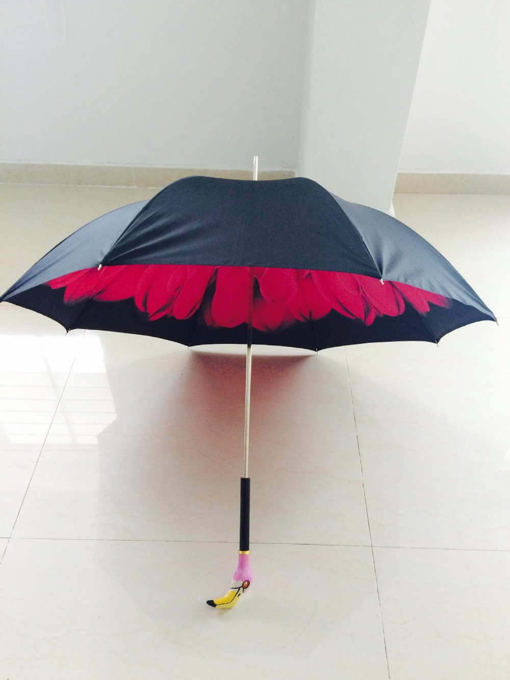 WholeSale Royal Luxury Brand Hand Painted Lacquer Metal Flamingo Umbrella  Sunny Rainy Long-handle Intelligent Royal Umbrella - us5 85380f25688c