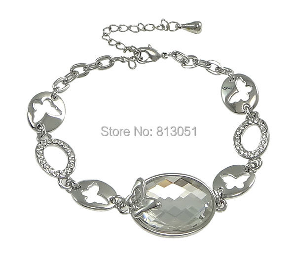 Free shipping!!!Zinc Alloy Bracelet,ladies jewelry, with Crystal, with 2lnch extender chain, platinum color plated<br><br>Aliexpress