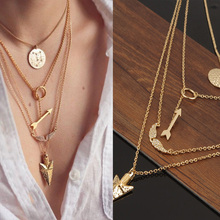 2015 Women Cheap Jewelry New Initial lariat Necklace Gold Multi Layer Necklace Sexy Circular Arrow Angel Wing Pendant Necklace(China (Mainland))
